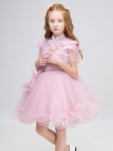 Short Sleeves Mini Length Appliques Zipper Child Pageant Dress with Baby Pink