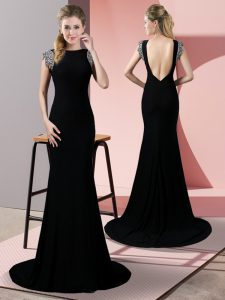 Graceful Backless Formal Dresses Black for Prom and Party with Beading Brush Train