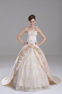 Champagne Sweet 16 Dresses Satin Brush Train Sleeveless Embroidery and Hand Made Flower