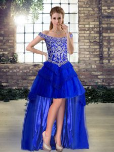 Hot Selling High Low A-line Sleeveless Royal Blue Lace Up