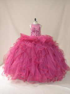 Gorgeous Sleeveless Tulle Brush Train Lace Up Vestidos de Quinceanera in Burgundy with Beading and Ruffles