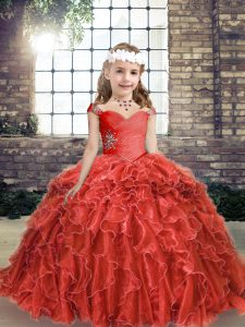 Cute Red Organza Lace Up Pageant Gowns For Girls Sleeveless Floor Length Beading and Ruffles