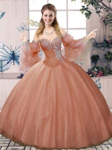 Rust Red Sleeveless Tulle Lace Up Sweet 16 Dresses for Sweet 16 and Quinceanera