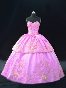 Lilac 15 Quinceanera Dress Sweet 16 and Quinceanera with Embroidery Sweetheart Sleeveless Lace Up