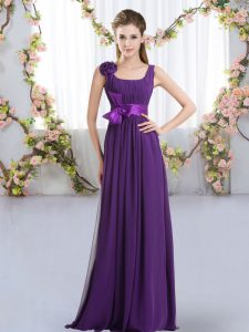 Purple Empire Chiffon Straps Sleeveless Belt and Hand Made Flower Floor Length Zipper Vestidos de Damas