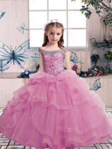 Wonderful Lilac Sleeveless Tulle Lace Up High School Pageant Dress for Party and Military Ball and Wedding Party
