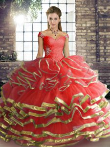 Beautiful Coral Red Ball Gowns Tulle Off The Shoulder Sleeveless Beading and Ruffled Layers Floor Length Lace Up Quinceanera Dress
