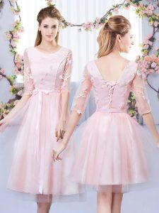 Baby Pink Lace Up Damas Dress Lace and Belt Half Sleeves Tea Length