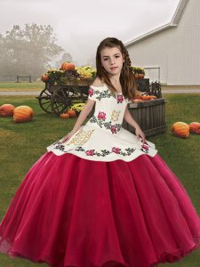 Perfect Organza Straps Sleeveless Lace Up Embroidery Kids Formal Wear in Coral Red