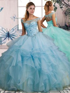 Ball Gowns 15th Birthday Dress Light Blue Off The Shoulder Organza Sleeveless Floor Length Lace Up