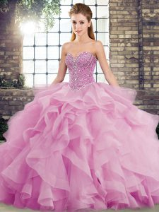 Lilac Quinceanera Gowns Military Ball and Sweet 16 and Quinceanera with Beading and Ruffles Sweetheart Sleeveless Brush Train Lace Up