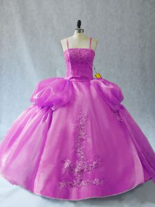 Lilac Sleeveless Floor Length Appliques Lace Up Quince Ball Gowns