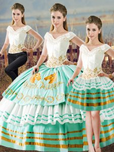 Fantastic Apple Green Quinceanera Gown Sweet 16 and Quinceanera with Embroidery and Ruffled Layers V-neck Sleeveless Lace Up