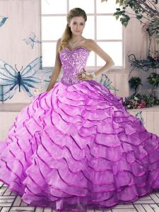Modest Beading and Ruffles Ball Gown Prom Dress Lilac Lace Up Sleeveless Brush Train