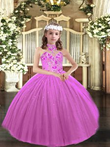 Sleeveless Tulle Floor Length Lace Up Pageant Gowns For Girls in Lilac with Appliques