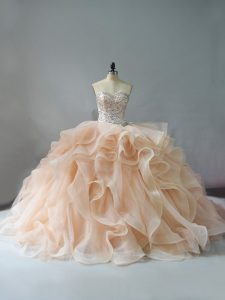 Perfect Champagne and Pink And White Quinceanera Gowns Sweet 16 and Quinceanera with Beading and Ruffles Sweetheart Sleeveless Brush Train Lace Up