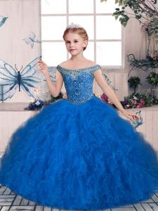 Latest Blue Sleeveless Beading and Ruffles Floor Length Winning Pageant Gowns
