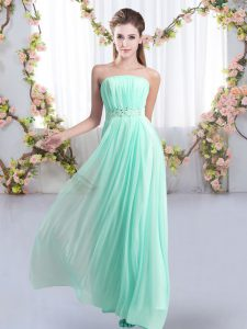 Aqua Blue Empire Chiffon Strapless Sleeveless Beading Lace Up Court Dresses for Sweet 16 Sweep Train