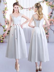 Stylish Silver Satin Lace Up V-neck Cap Sleeves Tea Length Vestidos de Damas Appliques