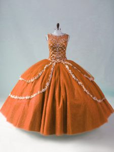 Floor Length Zipper Quinceanera Gowns Rust Red for Sweet 16 and Quinceanera with Beading and Appliques