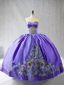 Hot Sale Purple Ball Gowns Sweetheart Sleeveless Satin Floor Length Lace Up Embroidery Quinceanera Gowns