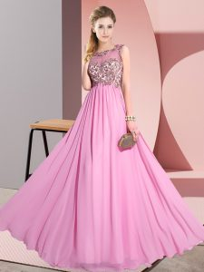 Extravagant Floor Length Backless Vestidos de Damas Rose Pink for Wedding Party with Beading and Appliques