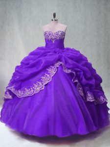 Discount Purple Lace Up 15 Quinceanera Dress Beading and Appliques and Pick Ups Sleeveless Floor Length