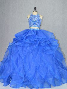 Blue Quinceanera Dresses Sweet 16 and Quinceanera with Beading and Ruffles Halter Top Sleeveless Court Train Backless