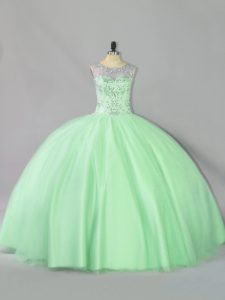 Apple Green Tulle Lace Up Quinceanera Dresses Sleeveless Floor Length Sequins