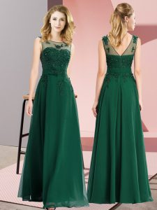 Decent Dark Green Sleeveless Floor Length Beading and Appliques Zipper Damas Dress