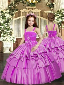 Lilac Sleeveless Taffeta Lace Up Little Girl Pageant Gowns for Party and Sweet 16 and Wedding Party