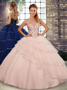 Peach Sweetheart Lace Up Beading and Ruffled Layers Quinceanera Gowns Brush Train Sleeveless