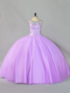 Most Popular Tulle Sleeveless Floor Length 15th Birthday Dress and Sequins