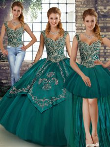 Traditional Sleeveless Floor Length Beading and Embroidery Lace Up Sweet 16 Dresses with Teal