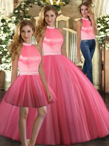 High End Halter Top Sleeveless Tulle Sweet 16 Quinceanera Dress Beading Backless