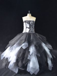 Popular Floor Length White And Black Quince Ball Gowns Strapless Sleeveless Lace Up