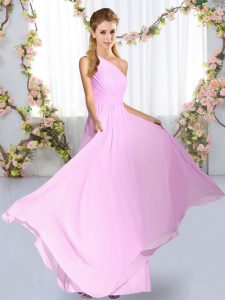 Amazing Lilac Sleeveless Chiffon Lace Up Dama Dress for Quinceanera for Wedding Party
