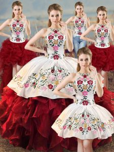 Decent White And Red Lace Up 15 Quinceanera Dress Embroidery and Ruffles Sleeveless Floor Length
