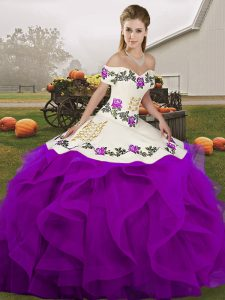 Inexpensive White And Purple Lace Up Quince Ball Gowns Embroidery and Ruffles Sleeveless Floor Length