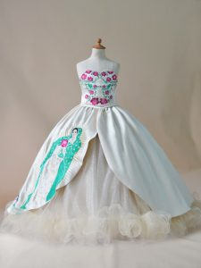 Customized Champagne Sweetheart Neckline Embroidery Little Girls Pageant Dress Sleeveless Lace Up