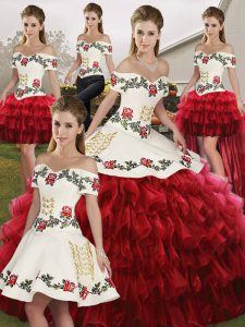 Exquisite Sleeveless Floor Length Embroidery and Ruffled Layers Lace Up Sweet 16 Dresses with Wine Red