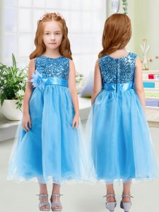 Cute Baby Blue Scoop Zipper Sequins and Hand Made Flower Little Girls Pageant Dress Wholesale Sleeveless