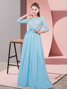 Floor Length Baby Blue Dama Dress for Quinceanera Chiffon 3 4 Length Sleeve Lace and Belt