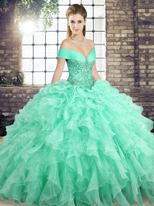 f95efac46b5 Ball Gowns Sleeveless Apple Green Sweet 16 Quinceanera Dress Brush Train  Lace Up