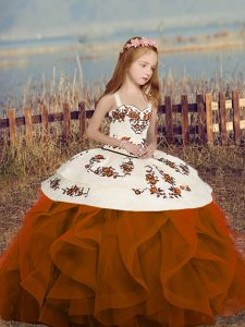 Embroidery and Ruffles Pageant Dress for Teens Rust Red Lace Up Sleeveless Floor Length