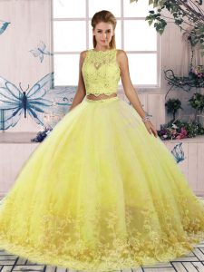 Graceful Yellow Sleeveless Tulle Sweep Train Backless Vestidos de Quinceanera for Military Ball and Sweet 16 and Quinceanera