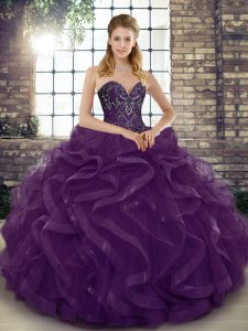 Wonderful Dark Purple Lace Up Sweetheart Beading and Ruffles Quinceanera Dresses Tulle Sleeveless