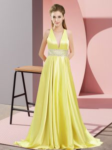 Yellow V-neck Backless Beading Brush Train Sleeveless