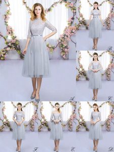 Empire Court Dresses for Sweet 16 Grey High-neck Tulle Half Sleeves Tea Length Zipper