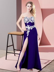 Affordable Chiffon Sleeveless Floor Length Prom Evening Gown and Lace and Appliques